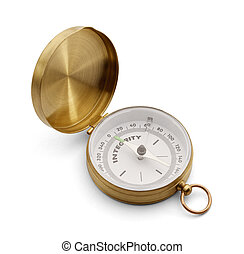 Compass With Integrity - Brass Compass with Flip Top that...