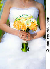 Bride holding a wedding bouquet - Bride holding a wedding...