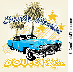 Santa Monica boulevard - illustration for shirt printed and...