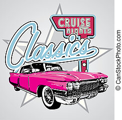Classic cruise Night - illustration for shirt printed and...