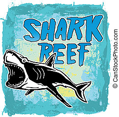 Shark Reef - illustration for shirt printed and poster
