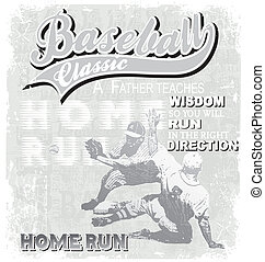baseball home run - illustration for shirt printed and...