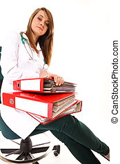 Medical doctor with a lot of work isolated