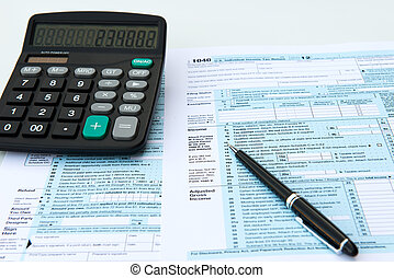 Tax forms - Filling out income tax forms with calculator and...