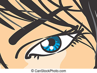 Eye of woman in close-up - Comic - Comic style illustration...