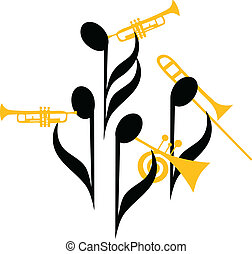 Notes Brass Band - Musical notes as band's players, vector...