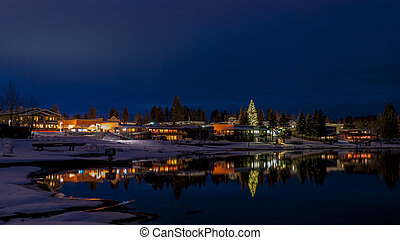 Winter night and lake McCall Idaho - Lake reflection at...
