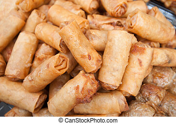 deep fried spring rolls street food in bangkok