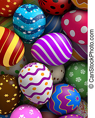 Easter Eggs - Decorated easter eggs background (3D rendered...