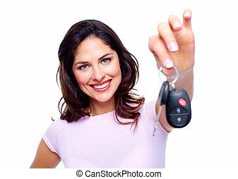 Woman with a car keys.