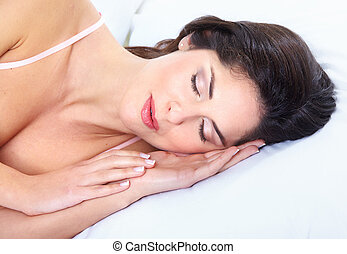 Sleeping woman - Beautiful sleeping woman in the bedroom...