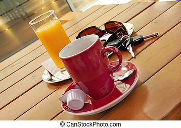 coffee on gas station - Red cup of coffee, juice, sunglasses...