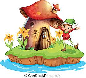 A dwarf outside a mushroom house - Illustration of a dwarf...