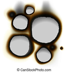 Collection of burnt holes in white paper