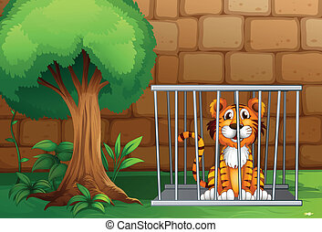 A tiger inside the animal cage - Illustration of a tiger...