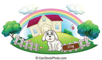 A white dog sitting inside the fence - Illustration of a...