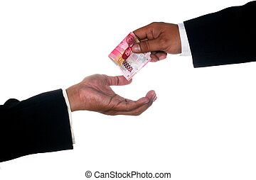 Man hands give money to other hand - Man hands give money to...
