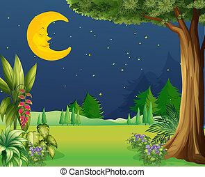 A half moon sleeping - Illustration of a half moon sleeping