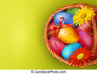 Easter background with Easter eggs and flowers with basket. Vector