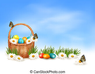 Easter background with Easter eggs in basket and butterfly...
