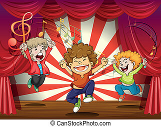Kids singing at the stage - Illustration of kids singing at...