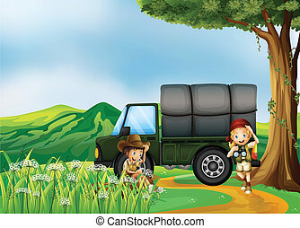 A military cargo truck at the hills - Illustration of a...