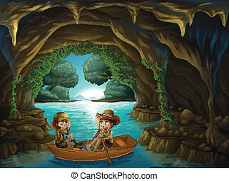 A cave with two kids riding in a wooden boat - Illustration...