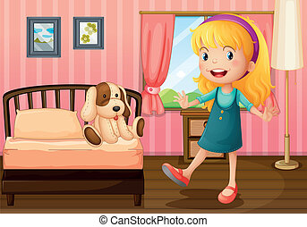A little girl and her toy inside the bedroom - Illustration...