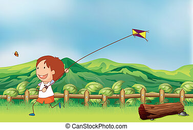 A boy flying his kite at the bridge - Illustration of a boy...