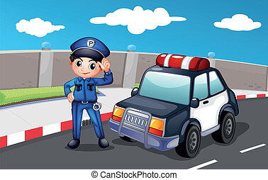A police officer at the street - Illustration of a police...