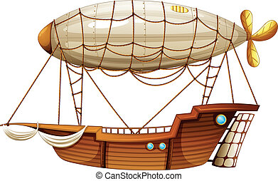 An airship - Illustration of an airship on a white...