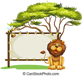 An empty space with a lion and a bee - Illustration of an...