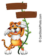 A tiger at the back of a two-plank empty board -...
