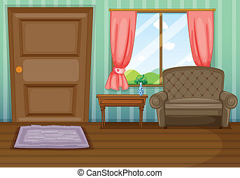 An inside view of the house - Illustration of an inside view...