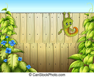 A lizard at the fence - Illustration of a lizard at the...
