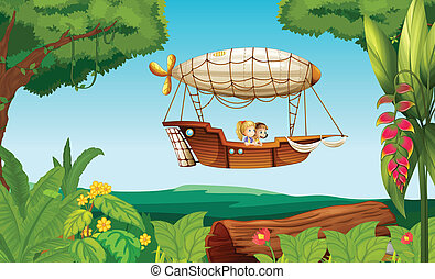An airship flying with two young girls - Illustration of an...