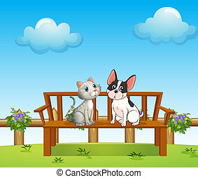 A cat and a dog at the bench - Illustration of a cat and a...