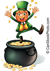 An old man and a pot of coins - Illustration of an old man...