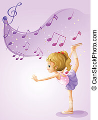 A girl dancing with musical notes - Illustration of a girl...