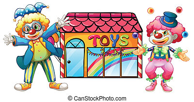 Two clowns in front of a toy store