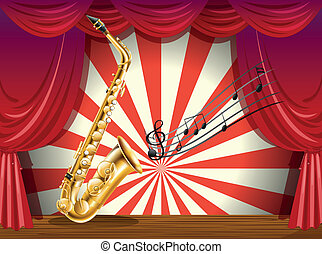 A saxophone and the musical notes at the stage -...