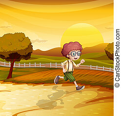 An afternoon view with a young boy running - Illustration of...