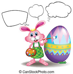A bunny painting an egg with empty callouts - Illustration...