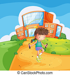 A sweaty girl playing in front of a school building