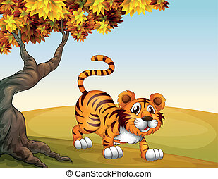 A tiger in a jumping position near the big tree -...