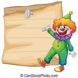 A brown empty signage with a clown - Illustration of a brown...