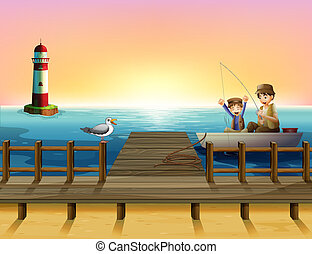 A sunset at the port with boys fishing