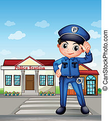 A police officer in front of a police station - Illustration...