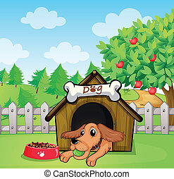 A dog with a ball inside a doghouse - Illustration of a dog...