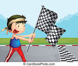 A young boy holding a checkered banner - Illustration of a...